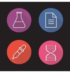 Laboratory flat linear long shadow icons set vector