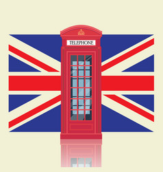 london red telephone booth with united kingdom vector image