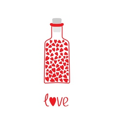 Love bottle with hearts inside Card vector