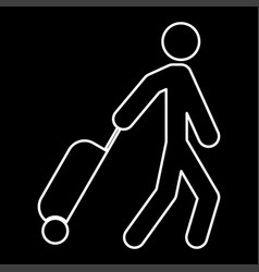 man with suitcase it is icon vector image