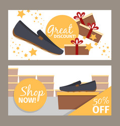 Men shoes store flyers vector
