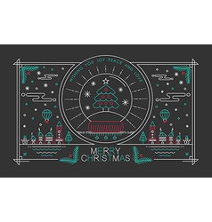 Merry christmas outline poster xmas tree snow city vector