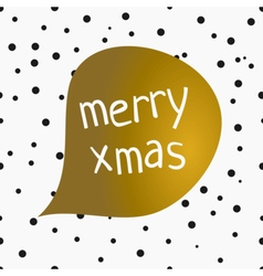 Merry xmas confetti gold foil speech bubble card vector