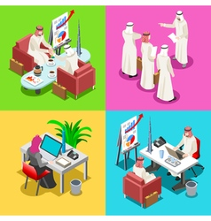 Middle eastern isometric people vector