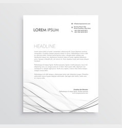 minimal letterhead design with gray wavy shape vector image