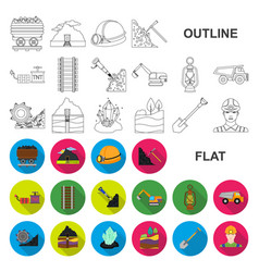 Mining industry flat icons in set collection for vector