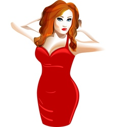Model in a red dress vector