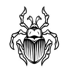 monochrome tattoo template beetle vector image
