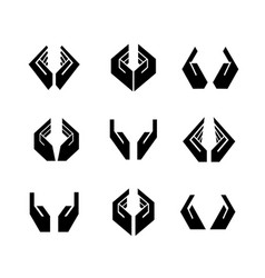 Nine black hands in different shapes vector