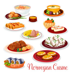 Norwegian cuisine national dishes set vector