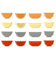 on theme big colored set different types bowl vector image
