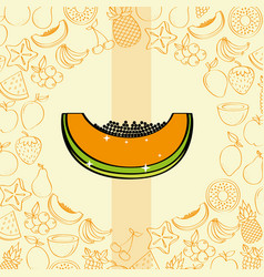papaya fruits nutrition background pattern drawing vector image