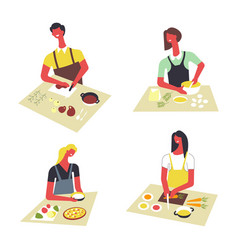 People cooking at kitchen table and stove vector