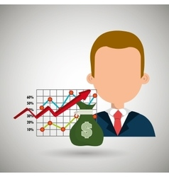 person with economy statistics isolated icon vector image