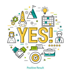 Positive result - lineart vector
