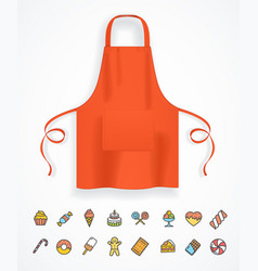 Realistic detailed 3d red apron and thin line icon vector