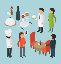 Restaurant people isometric cafe person event vector