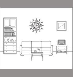 retro room interior linear vector image