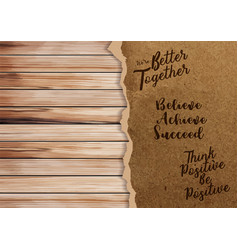 ripped paper on texture of wood background with vector image