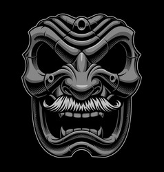 Samurai mask with mustahce vector