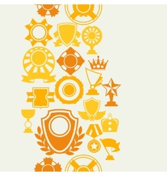 Seamless pattern with trophy and awards in flat vector image vector image