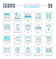 Set blue line icons rail transport vector