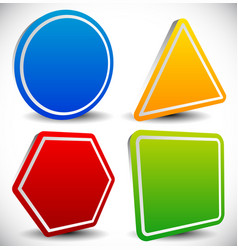 Set of blank shapes circle triangle octagon and vector
