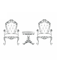 Set of classic furniture with ornaments vector