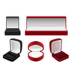 Set of empty red and black velvet opened vector