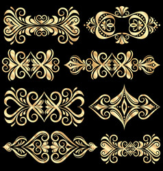 set of golden page decoration elements vector image