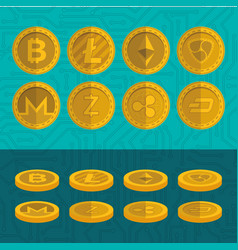 Set of virtual coins icons vector