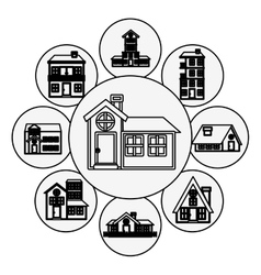 Silhouette pattern with houses logo design in vector