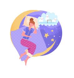 Sleep disturbance character suffers from insomnia vector