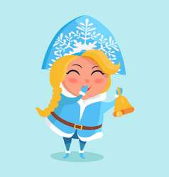 Snow maiden in cute warm winter cloth covers mouth vector