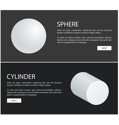 sphere round geometric 3d shape and cylinder white vector image