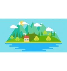 Summer landscape in flat vector image