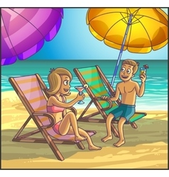 Summer relax leasure scene on the beach vector image