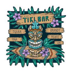 Surfing tiki mask hawaii or idol ethnic totem vector