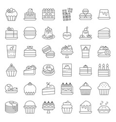 Sweets and dessert icon set outline style vector
