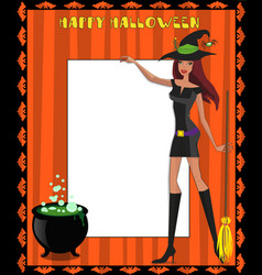 template with cute green eyed witch in short dress vector image