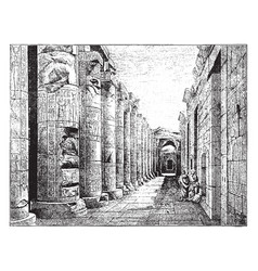 Temple of abydos contain carvings vintage vector