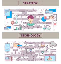 thin line flat design strategy and vector image vector image