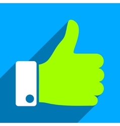 Thumb Up Flat Square Icon with Long Shadow vector image