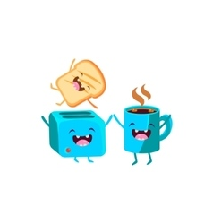 Toaster And Coffee Cartoon Friends vector image