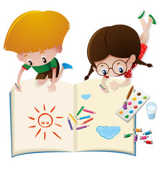 two kids drawing on big book vector image