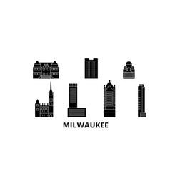 United states milwaukee city flat travel skyline vector
