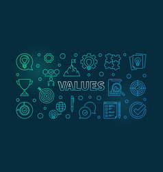 Values horizontal colorful outline vector