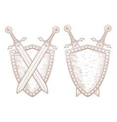 Vintage shield with swords hand drawn sketch vector