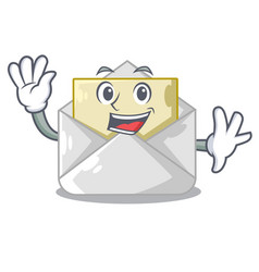 Waving open envelope greeting posters on character vector