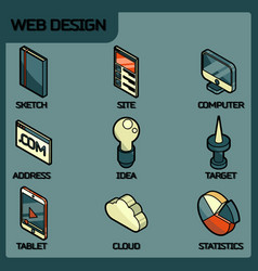 web design color outline isometric icons vector image